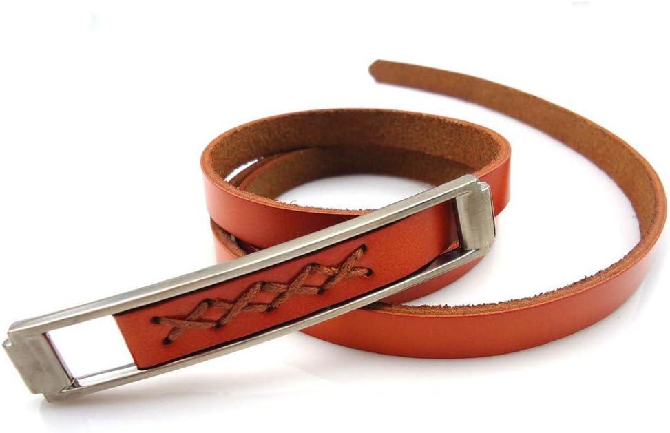 Melodycp Elegante Cinturón Reversible de Cuero para Mujer Hebilla de cinturón de Cuero de Las Mujeres Vestido de Cintura de Cuero Liso Todo fósforo Accesorios Elegante (tamaño : L)