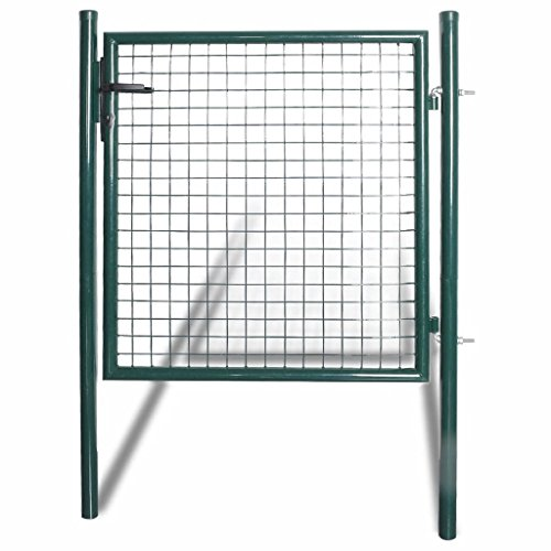 Mesh Garden Gate, Single Door Fence Gate Powder-Coated Steel with 3 Matching Keys, 2 Posts with Hinges 100 x 150 cm (W x H) Dark Green for Garden, Yard, Patio or Terrace