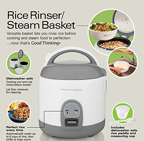 Hamilton Beach (37508) Rice Cooker with Rinser/Steam Basket, 4 Cups uncooked resulting in 8 Cups cooked, Mini, White by Hamilton Beach (Image #7)
