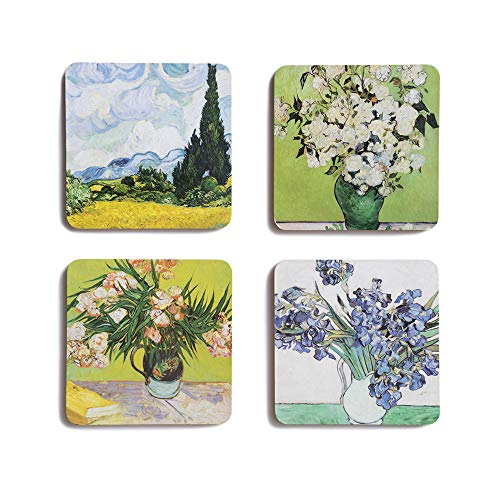 The Metropolitan Museum of Art Van Gogh Square Floral Drink Coasters, Set of 4