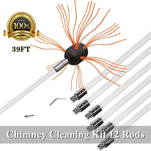 Great Deal! Durable Chimney Brush 39Foot Flexible Chimney Cleaning Kit Electrical Drill Drive with N...