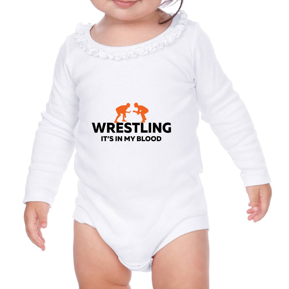 Cute Rascals Wrestling It's in My Blood Sunflower Ruffle Long Sleeve Bodysuit White 6 Months