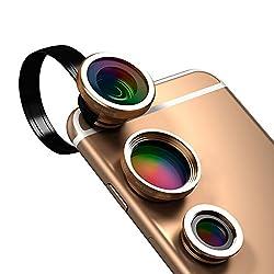 dodocool 3-イン-1 カメラレンズキット クリップ式 180°魚眼レンズ + 0.67X 広角レンズ + 10X マクロレンズ iPhone Samsung LG and Other Android スマートフォン用