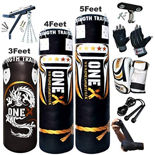 ONEX NEW 3-4-5 FT Filled Heavy Punch Bag Buyer Build Set,Chains,Bracket, Punching Gloves for Training Fitness Water proof Bag MMA (5ft with Ceiling Hook+Mitts)