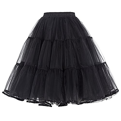 1950s Lingerie - PAUL JONES Women's Lolita Dress 50s Swing Tutu Underskirt 22 Inch Petticoat Black(L)