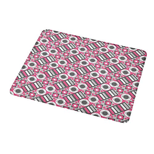 Customized Gaming Mouse Geometric,Bullseye Pattern Circles with Stripes and Rhombuses Pastel Illustration,Pink Pale Grey White,Non-Slip Personalized Rectangle Mouse pad 9.8