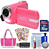 Vivitar DVR-508 NHD Digital Video Camera Camcorder (Bubble Gum Pink) 16GB Card + Bag + Stickers + Kit
