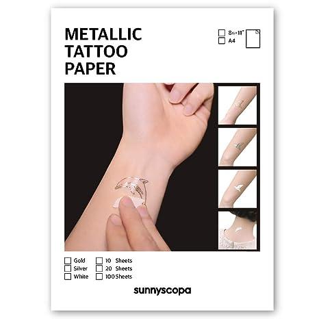 Amazon.com: sunnyscopa DIY metálico tatuaje hoja de papel de ...