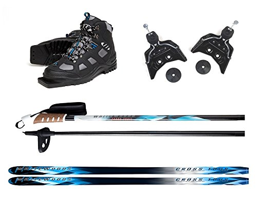 Whitewoods New 75mm 3Pin Cross Country Package Skis Boots Bindings Poles 197cm (40, 151-180 lbs.)