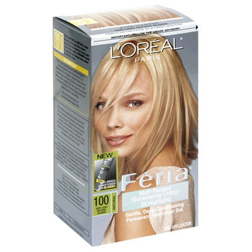 L'Oreal Feria Multi-Faceted Shimmering Colour 3X Highlights, Level 3 Permanent, Very Light Natural Blonde/Natural 100 (Pack of 3)