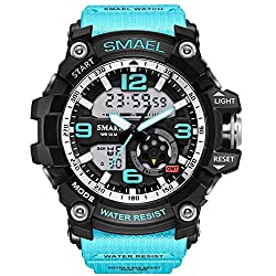 carlien Mens Military Watch Students Sports Digital Watch Alarm Chronograph S-Shock Army quartz Clock (light blue)