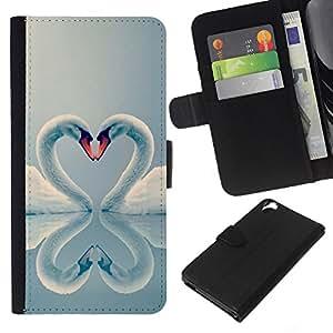 KingStore / Leather Etui en cuir / HTC Desire 820 / Valentines Coeur Oiseaux Aww