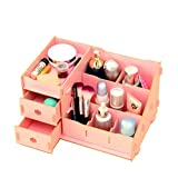 Fashion Wooden Storage Box,B-MyDreams Double Drawer DIY Collection Cosmetic,Jewelry,Stationery Organizers (Pink)