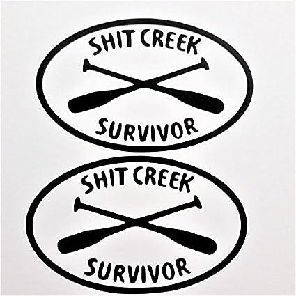 Amazon Com Shit Creek Survivor 2 Pack Vinyl Decal Stickerblack