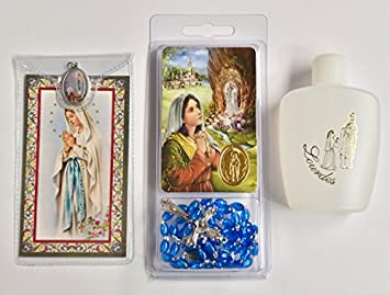 Lourdes Water Plastic Bottle filled with Blessed Lourdes Holy Water, Catholic Our Lady of Lourdes Prayer Card with Apparition Medal & Lourdes Plastic Rosary Beads - CATHOLIC GIFTS