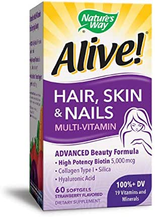 Nature's Way Alive!® Hair, Skin & Nails Multivitamin with Biotin (5,000mcg per serving and Collagen (75mg per serving), Fruit & Veggie Blend (50mg per serving), 60 Softgels