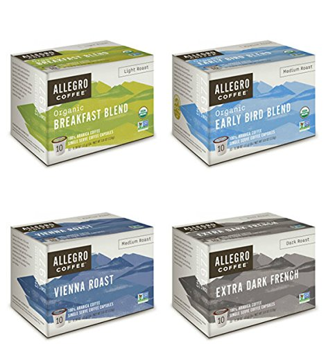- Allegro Coffee Single Serve Coffee Capsules 100% Arabica Coffee (4 Flavor Sampler)