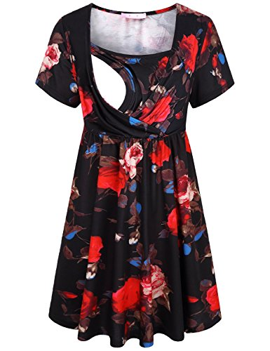 JOYMOM Nursing Pajamas, Pregnant Printed Stretchy Fit and Flare Dresses Summer Maternity Surplice Dress with Sleeves Function Floral Dlivery Gown Black Red Flower Medium by JOYMOM