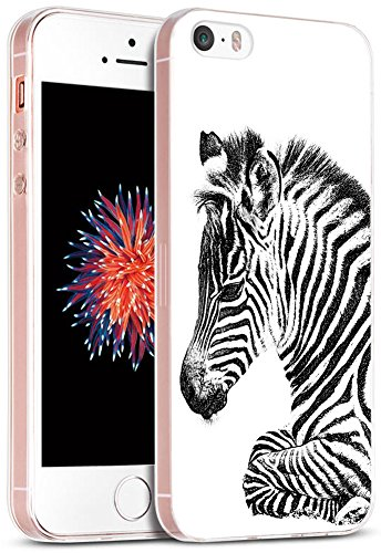 - Case for iPhone SE Zebra/IWONE Designer Non Slip Rubber Durable Protective Replacement Skin Transparent Cover Shockproof Compatible for iPhone 5/5S/SE + Zebra Animal