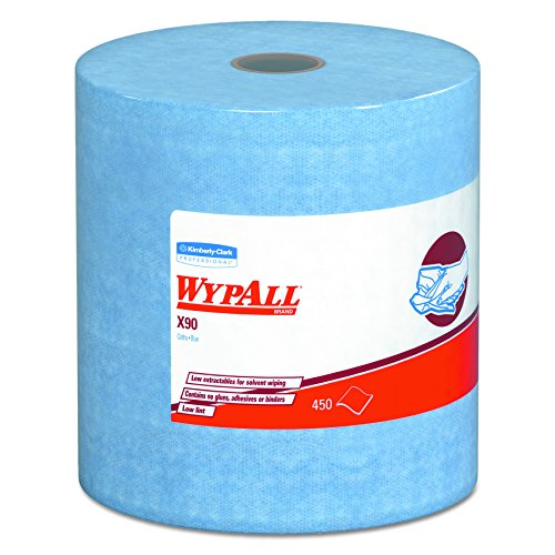 WypAll 12889 X90 Cloths, Jumbo Roll, 11 1/10 x 13 2/5, Denim Blue, 450 Cloths per Roll (Case of 1 Roll)