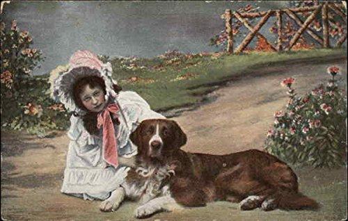 Girl in Bonnet with Brown and White Dog Saint Bernards Original Vintage ()