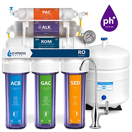 Express Water Alkaline Reverse Osmosis Filtration System - 10 Stage RO Mineralizing Water Filter - Mineral, pH + Antioxidant - Under Sink Water Filter with Remineralization - 100 GDP with Clear Housing (Fluoride Water Detector)