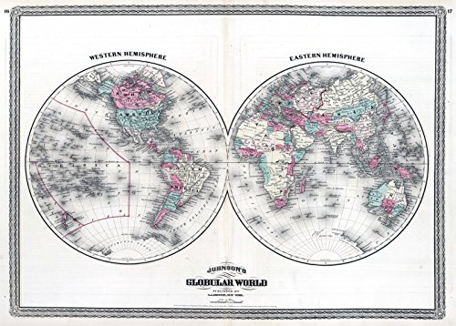 ohnson's Globular World. | Historic Antique Vintage Map Reprint ()