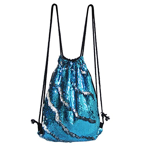 Polyester Dance (DrCosy Mermaid Drawstring Bag, Magic Reversible Sequin Backpack, Fashion Glittering Dance Bag, with Pocket, 13.8