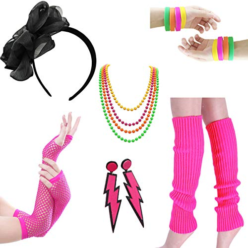 Women Costume 80s Fancy Outfit Accessories Set - Headband Wristbands Bracelet Plastic neon Beads Earrings for Costume Party 80s Theme Party Halloween(Set 6-Pink) ()