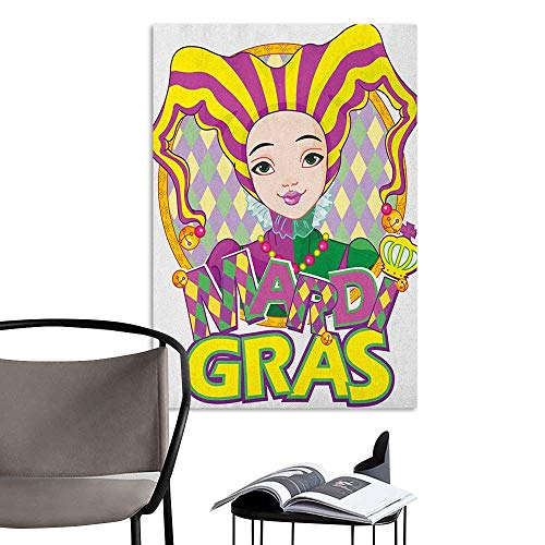 Scenery Wall Sticker Mardi Gras Carnival Girl in Harlequin Costume and Hat Cartoon Fat Tuesday Theme Yellow Purple Green Bedroom Wall W20 x H28