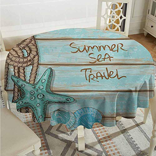 XXANS Tablecloth,Starfish,Summer Season Sea Travel Retro Boards of Ship Deck Rope Scallops,Party Decorations Table Cover Cloth,35 INCH,Brown Mint Green Turquoise