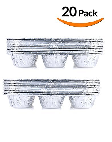 DOBI Muffin Pans - Disposable Aluminum Foil 6-Cup Cupcake Pans, Standard Size, Pack of 20. Favorite Muffin Tin Size for Baking Cupcakes, Muffins and Mini Pies