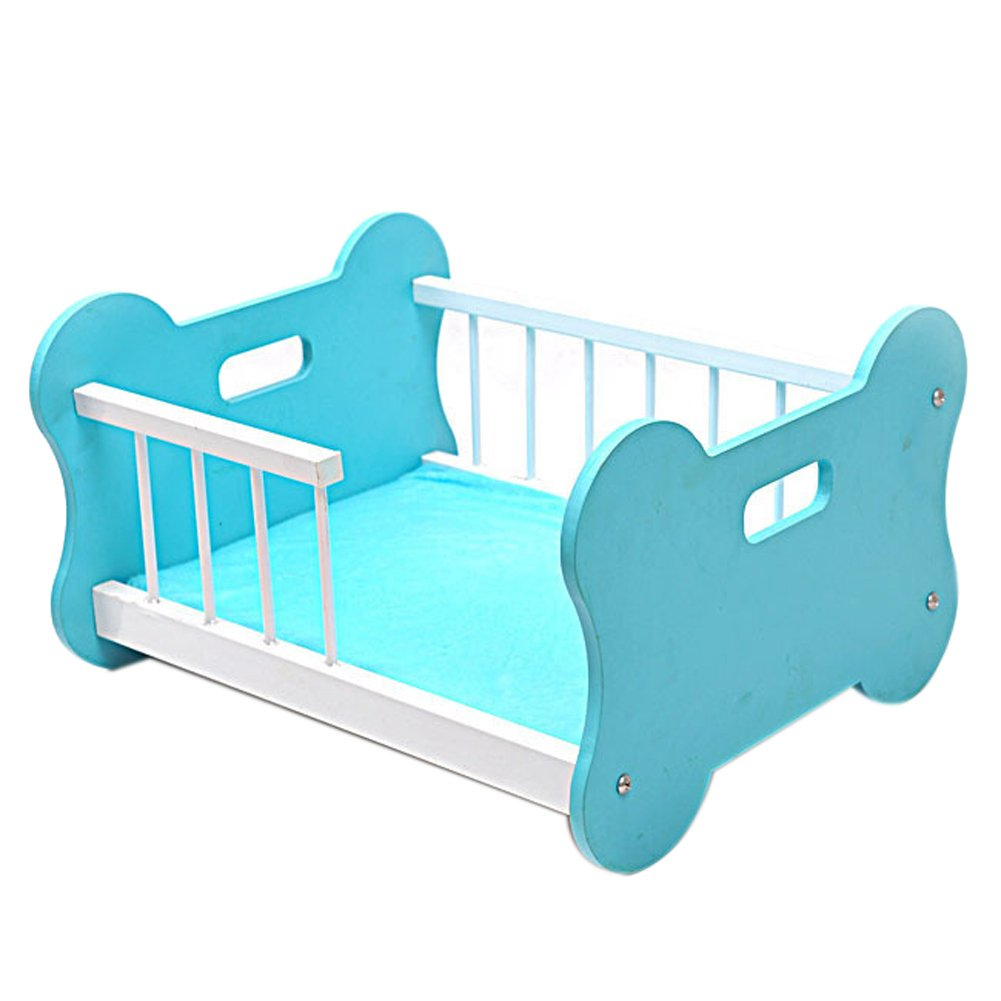 One Size Insun Pet Dog Wood Cage Puppy Bed Wooden Steel Handrail Comes with Cushion 20.5 15.7 11.8  Pink
