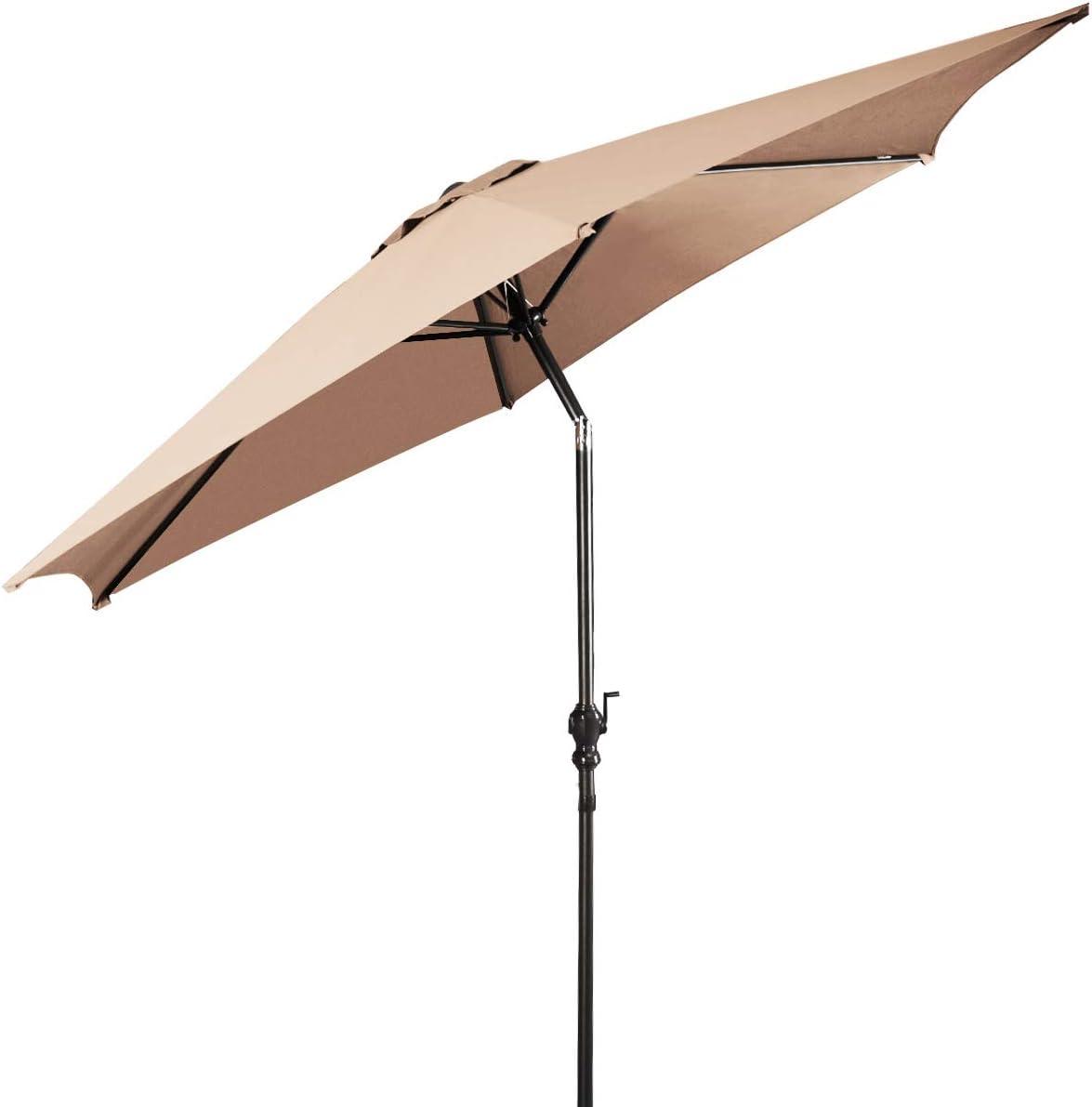 10Ft Outdoor Patio Umbrella Market Table Umbrella with Crank Strong Steel Ribs for Garden Pool Deck Patio Beach Backyard,Beige