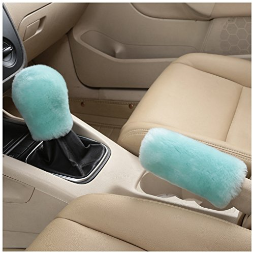 Dotesy Genuine Sheepskin Auto Gear Shift Knob Cover Handbrake Cover Set - Soft Fluffy Pure Wool Car Interior Gear Shift Parking Break Cover Protector Sleeve, Mint Green