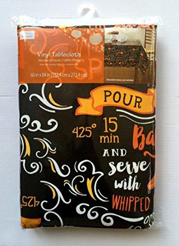 Vinyl PEVA Tablecloth Chalkboard Pumpkin Pie Recipe 60x84 Inches
