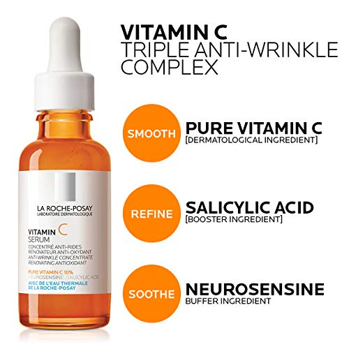 51DJInQaoRL - La Roche-Posay Pure Vitamin C Face Serum with Salicylic Acid. Anti Aging Face Serum for Wrinkles & Uneven Skin Texture to Visibly Brighten & Smooth. Suitable for Sensitive Skin, 1.0 Fl. Oz.