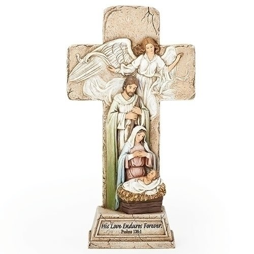Roman - 9.25''CROSS W/ HOLY FAMILY/ANGL FIG '' HIS LOVE ENDURES FOREVER