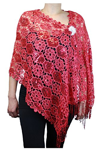 """Love My Seamless Mother Of Bride Fashion 19"""" x 62"""" Sequins Beaded Embroidered Lace Shawl Scarf With Brooch Cover Up Wrap Scarve (Red)"""