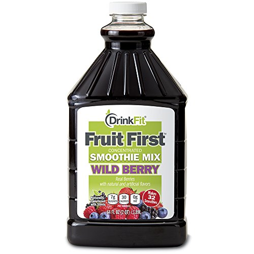 DrinkFit Blender Smoothie Mix - Concentrated Real Fruit Puree - Low Calorie Stevia - Vegan Kosher, Gluten Soy Lactose Fat Free - 64 oz Bottle (Wild Berry) - Concentrated Drink