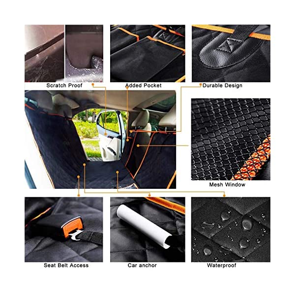 CLEEBOURG Dog Car Seat Cover Durable Scratchproof Waterproof Car Back Seat Cover for Dogs with Seat Anchors and 2 Dog Seat Belts, Dog Car Hammock for Different Cars 5