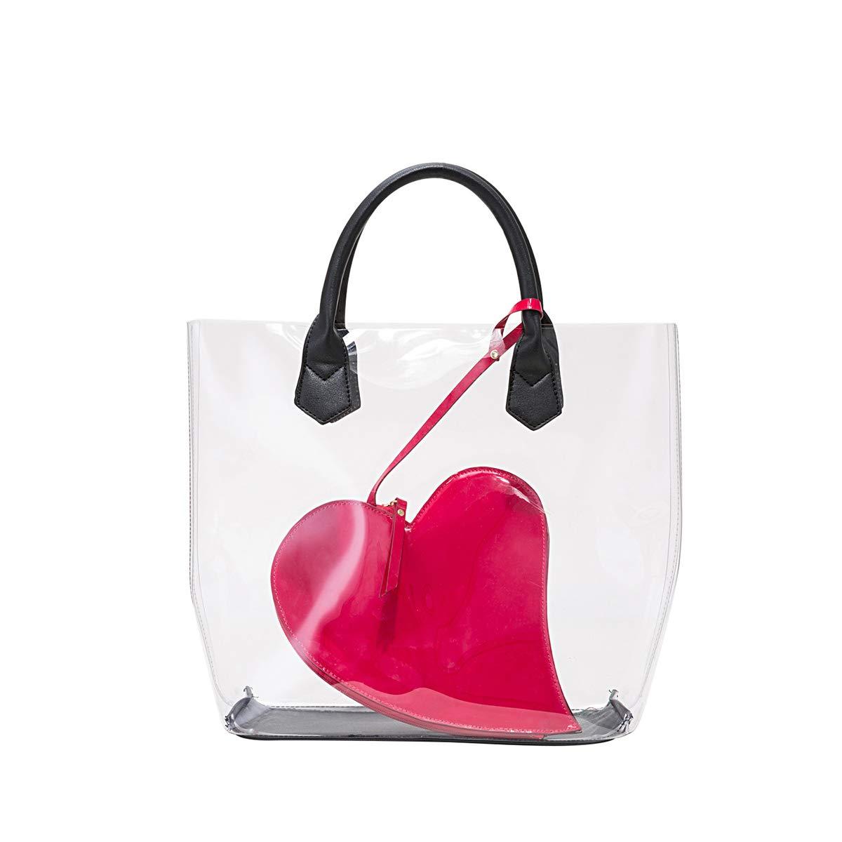 Original bolso transparente con bolsa interior en forma decorazón. Opción diseño de piña y labios.