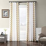HPD Half Price Drapes Embroidered Faux Silk Taffeta Curtain Espalier Off White 50 x 108