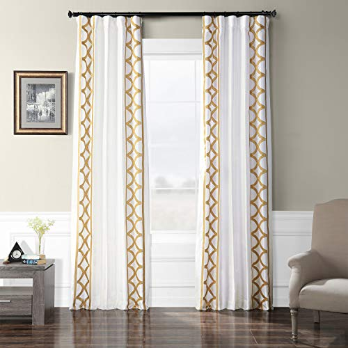 (HPD Half Price Drapes EFSCH-18053A-84 Embroidered Faux Silk Taffeta Curtain 50 x 84 Espalier Off White)