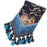 Yoovi Chenille Jacquard Floral Table Runner Luxury with Multi Tassels for Bedroom and Living Room, Peony (13'' x 78'', Blue)