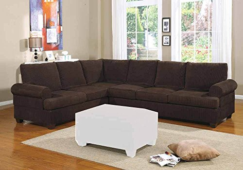 1PerfectChoice 2 PCS Modern Reversible Left/Right Loveseat Sofa Sectional Couch Seat Chocolate