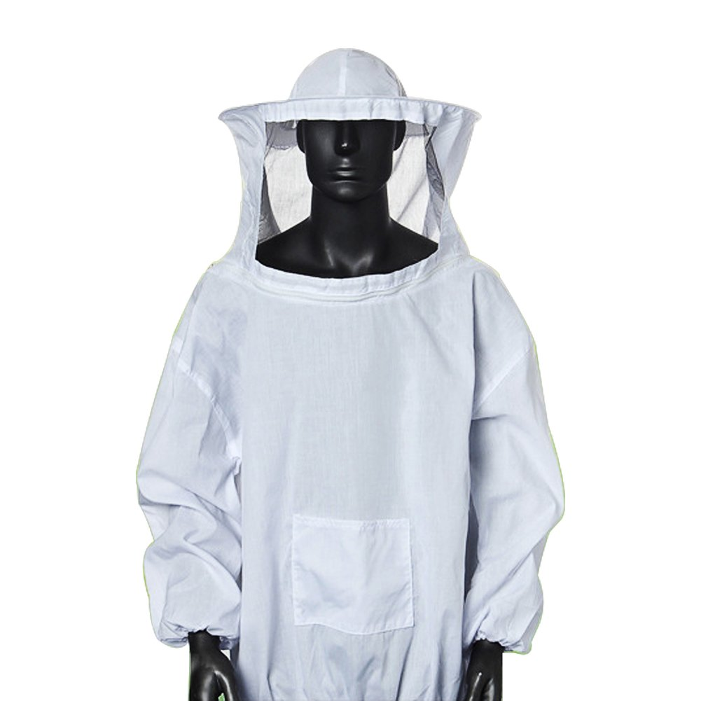 Chengsan White Beekeeping Suit, Jacket and Fencing Veil Hood Hat Smock Dress Protective Equipment,Perfect Protection for Professional & Beginner Beekeepers(CS-YFF01)