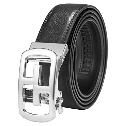 ManChDa Balck Ratchet Leather Belts For Men 35mm Wide Automatic Buckle