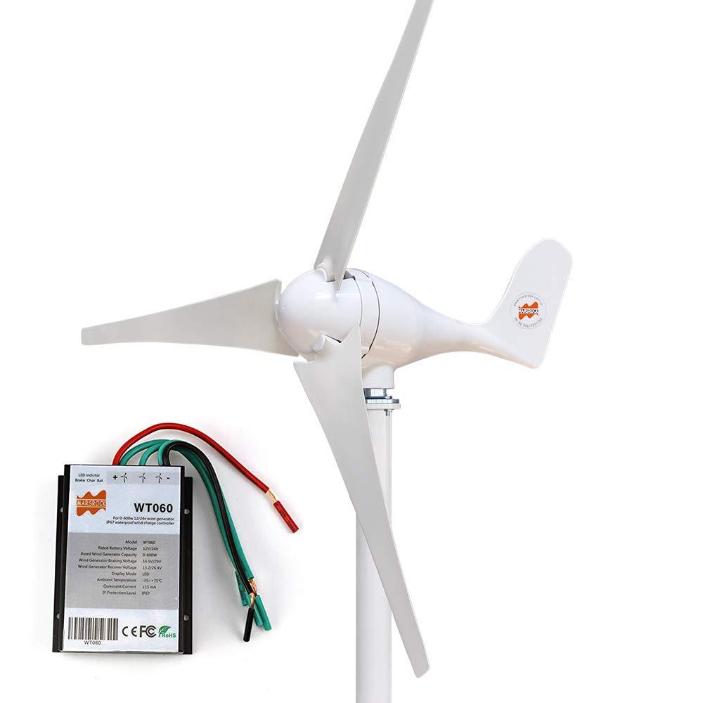 MarsRock Small Wind Turbine Generator AC 12Volt or 24Volt,400W Economy Windmill for Wind Solar Hybrid System 2m/s Start Wind Speed 3 Blades (400Watt 12Volt) by MarsRock