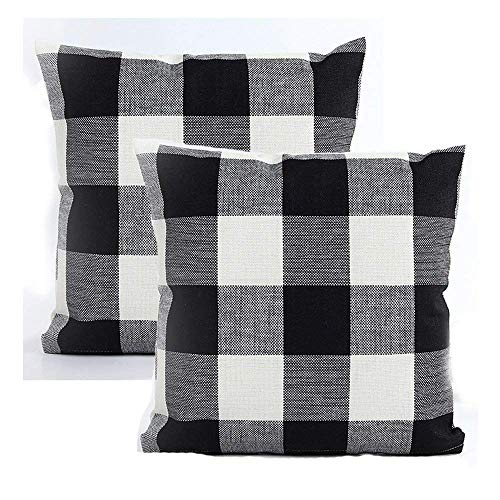AENEY Black and White Buffalo Check Throw Pillow Covers 18x18 for Sofa Bed Couch Farmhouse Plaid Throw Pillows Cushion Cover Set of 2